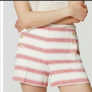 Loft Riviera red & white striped shorts size 4